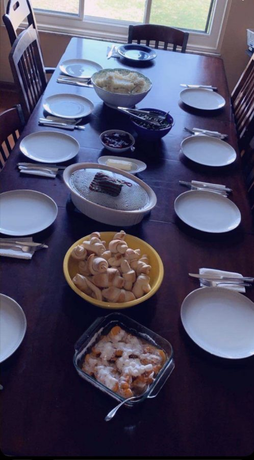 Sophomore Liz Ross's family celebrated a different holiday every weekend in quarantine. Pictured here is their Thanksgiving spread.