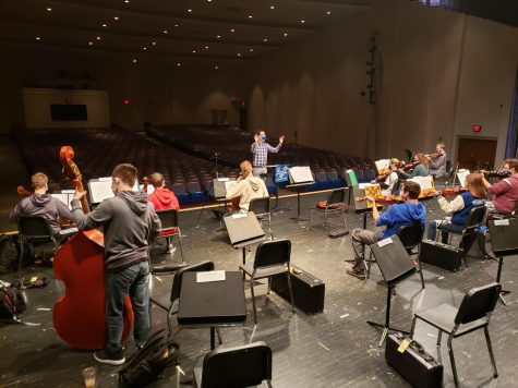 The Trinity High School String Orchestra was excited to practice as a full ensemble for the first time this school year. The stage provides plenty of room so that each musician can be socially distanced!