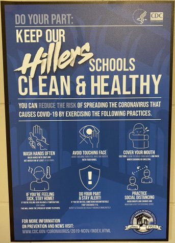 Signs such as this are posted around the halls as a reminder to students to stay safe.