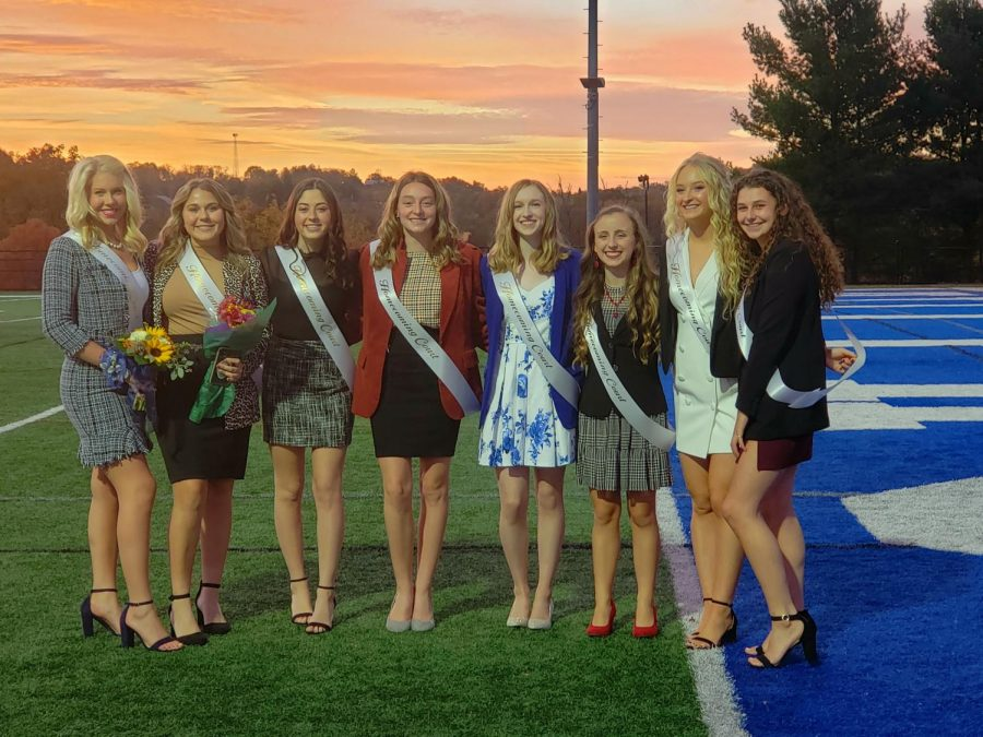 Members of the Senior Homecoming Court smiled for a picture on the Hiller field before the ceremony began.