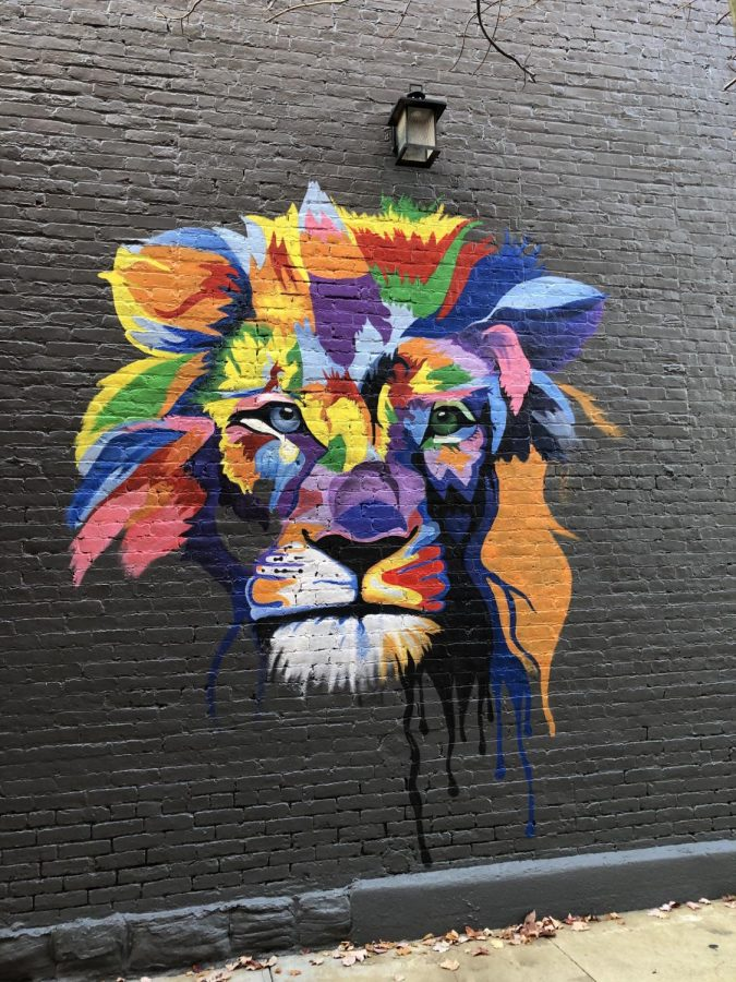 Selah Taggart's mural is a beautifully painted lion's head!