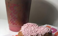 Dunkin Donuts' new Cupid's Heart donut and Pink Velvet Macchiato look festive and perfectly colored for Valentine's day!