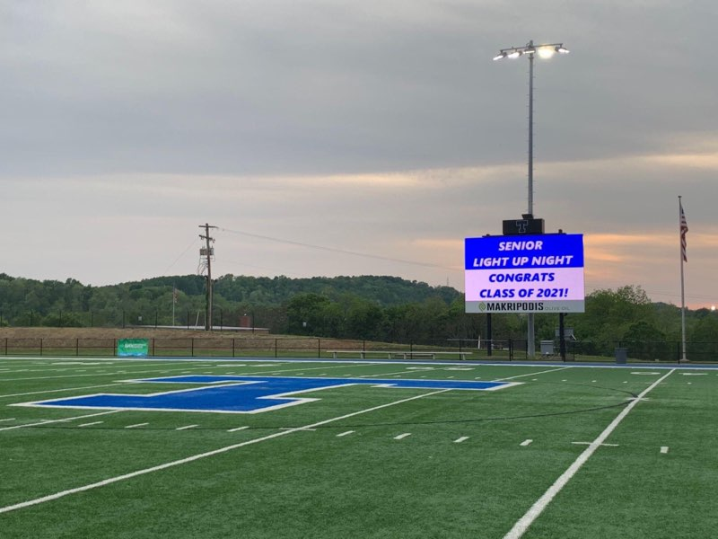 The Middle School football field was lit up in order to celebrate the Class of 2021.